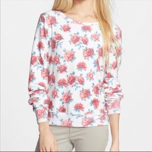 Wildfox Floral Roses Pastel Pullover Sweatshirt S